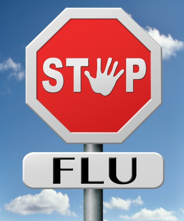 stop flu by vaccination or immunization shot with flu vaccin for prevention Imagens