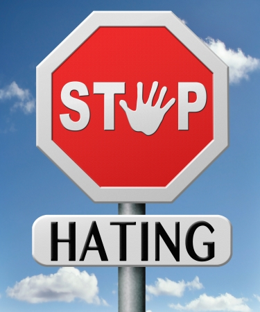 stop hating strart love tolerence and forgiveness forgive ennemies no discrimination or racism Stock Photo - 17463040