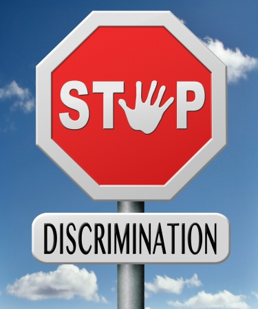 stop discrimination equal rights equality no racism based on age race or etnicity gender  photo