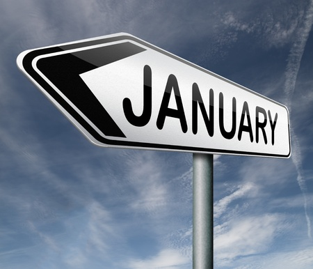 january month road sign Stock Photo - 17463108