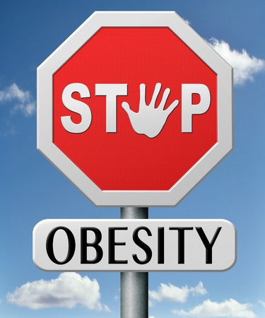 obesity prevention stop over weight start campaign with diet for obese children and adults with eating disorder Stock Photo - 17463058