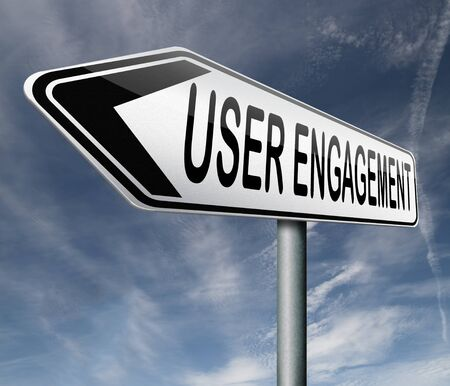 engage: user engagement users generated content and crowd sourcing Stock Photo
