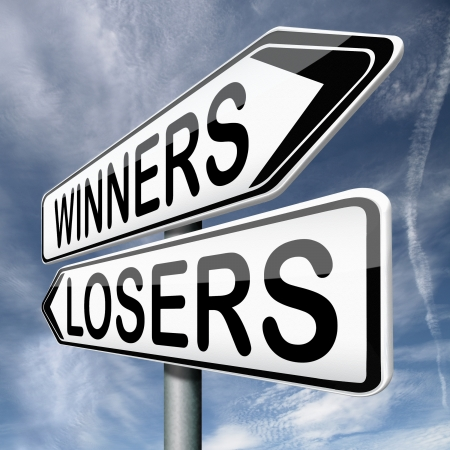 losers: winner loser winning or loosing team winners and losers in every game and sport competition Stock Photo