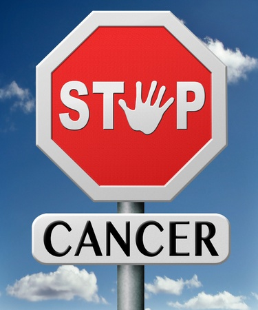 cancer: stop cancer by prevention and early diagnosis improve treatment prevent and find causes lung breast prostate liver cancers Stock Photo