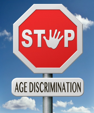 human age: age discrimination stop to discriminate old people Stock Photo