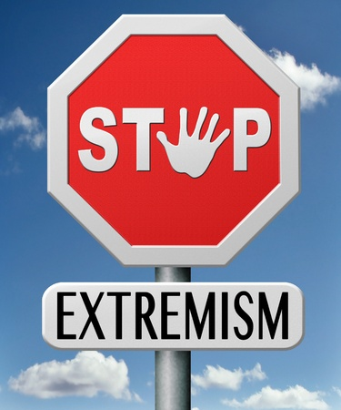 stop extremism political and religion extreme left and right jew catholic and muslim stop terrorism no discrimination Stock Photo - 17841912