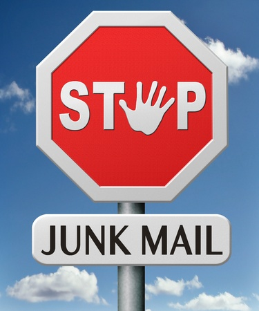 spamming: stop junk mail no spam or spamming e-mail Stock Photo