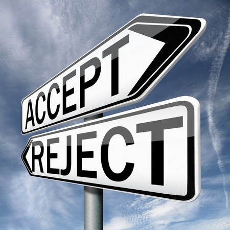yes no: accept or refuse offer proposal or invitation, yes or no Stock Photo