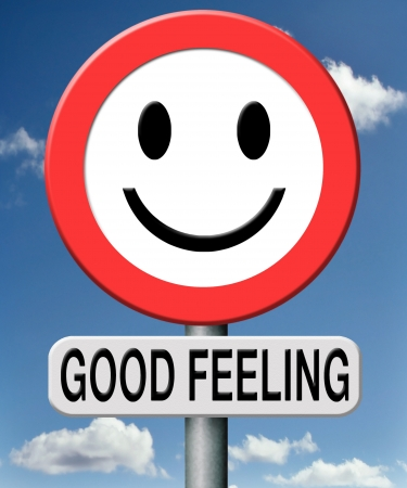 good mood: good feeling totally relaxed and at ease positive healthy attitude happy life Stock Photo