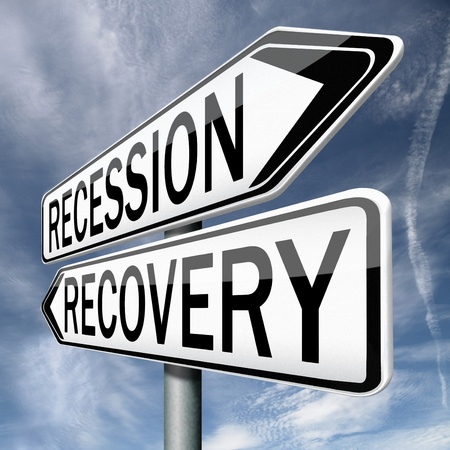 market crash: recession or recovery from global financial bank crisis. Stock market crash or growth. Euro or dollar depression and inflation.