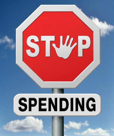 spendings: stop spending money on useless things. Budget cuts no wasting resources. Loss of profit.  Stock Photo