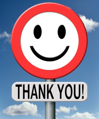 thank you note: thank you thanks expressing gratitude note on a road sign Stock Photo