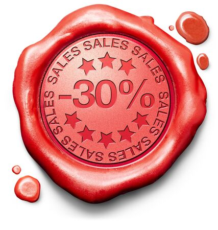 30: 30% off sales summer or winter reduction extra low price buy for bargain limited offer icon red wax seal stamp