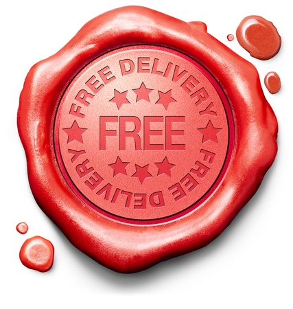 free package delivery online internet web shop order shipping icon red wax stamp seal for webshop shipment photo
