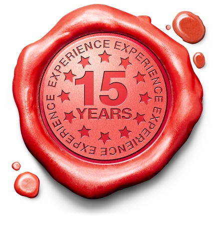 fifteen years experience 15 year of specialized expertise top expert specialist best service guaranteed Stock Photo - 19870554