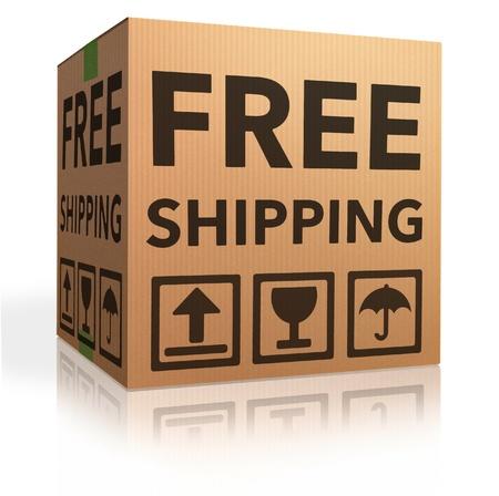 pappkarton: Kostenloser Versand Paket aus Online-Internet-webshop Karton als Webshop einkaufen icon Paket mit Text Auftragsversandes