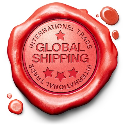 global shipping worldwide delivery of online order at internet webshop shopping icon red wax stamp  photo