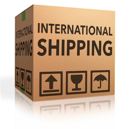 webshop: international delivery worldwide shipment of online package order from internet webshop, webshop icon cardboard box with text