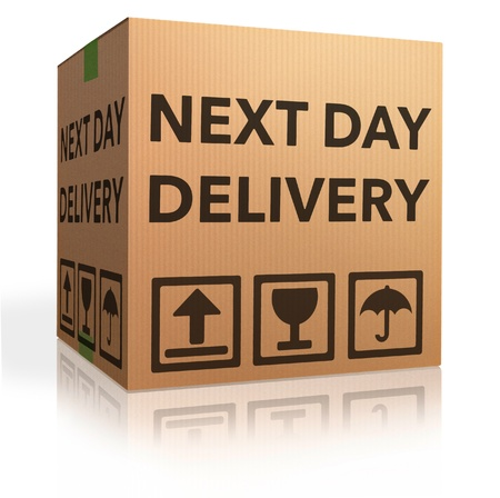 sig: pr�ximo d�a de entrega urgente paquete de env�o caja de cart�n para entregar Foto de archivo