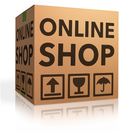 webshop online internet shopping icon cardboard box package web shop order package shipping photo