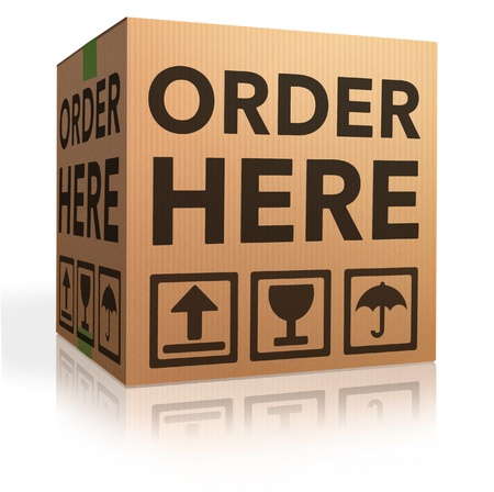 order here: order here online webshop icon placing order at internet web shop now shopping cardboard box