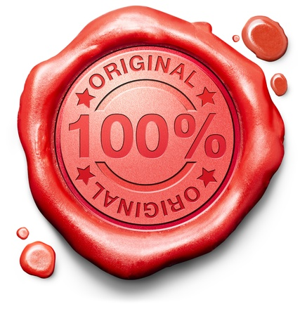 genuine: original authentic content or product quality label authenticity guaranteed 100% originality new innovation red wax seal stamp Stock Photo