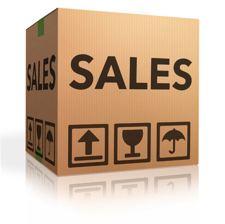 sales promotion or offer cardboard box online shopping in internet web shop for bargain and discount photo
