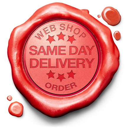 same day delivery webshop order shipping online shopping product from internet web shop package shipping red wax seal stamp icon or label photo