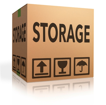 storage box: storage box storing spaces in garage lockers units or container with room and space for renting Stock Photo