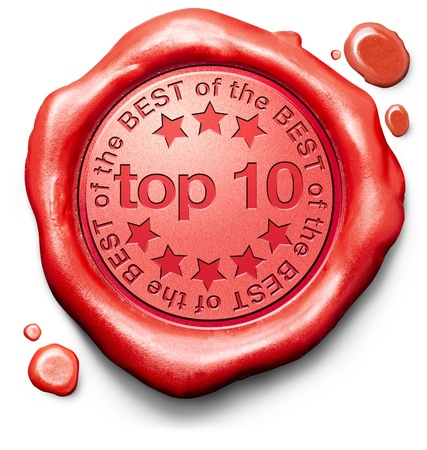 hits: top 10 charts list pop poll result and award winners chart ranking music hits best top quality ratingprize winner icon red wax seal stamp