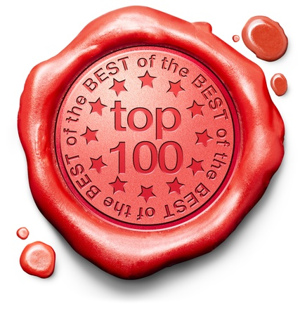 hits: top 100 charts list pop poll result and award winners chart ranking music hits best top quality ratingprize winner icon red wax seal stamp