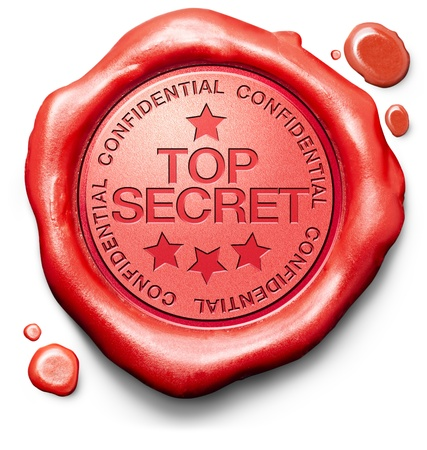 top secret confidential and classified information private property or information red wax seal stamp  photo