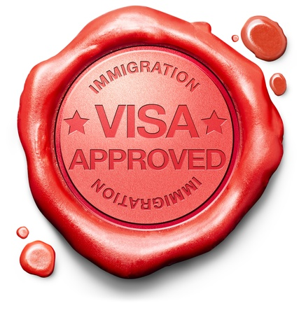 red wax seal: visa approved immigration stamp for crossing the border passing customs for tourism and passport control approval to enter country Stock Photo