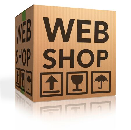 webshop: webshop online internet shopping icon cardboard box package web shop order package shipping