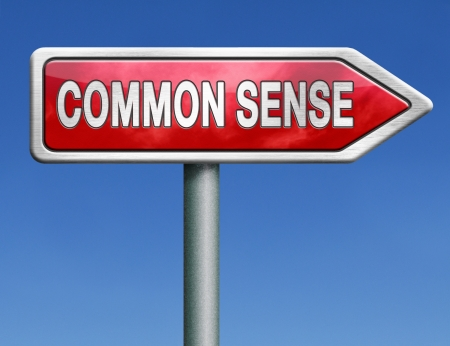 common sense: common sense no nonsense and a clear vision and idea lead to a rational decision back to basics red road sign arrow