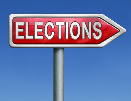 free vote: elections free election for new democracy local national voting poll red road sign arrow