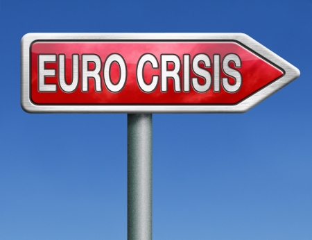 Euro crisis bank crash credit or housing bubble leading to economic recession or depression photo
