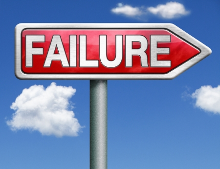 failing: failure being unsuccessful and failing task or going bankruptcy take the risk and fail test task or exam examination red road sign arrow
