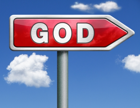 god button: God and salvation search road to heaven religion god icon god button isolated arrow belief in the lord road sign arrow Stock Photo