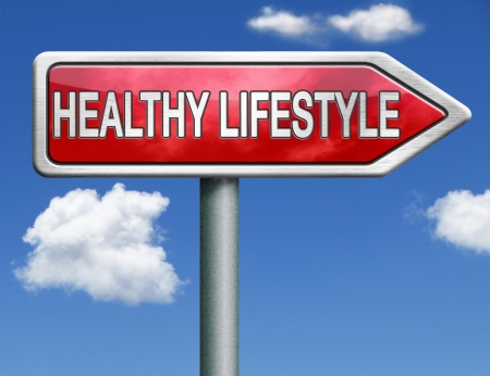 eating healthy: healthy lifestyle healthcare roadsign with text