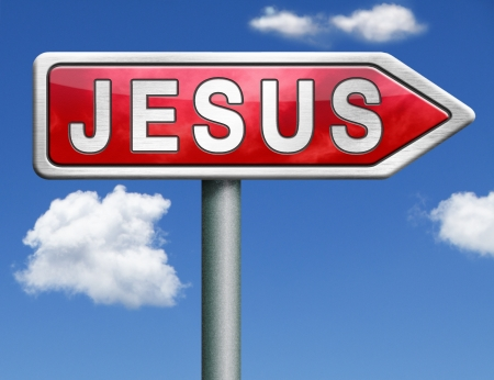 seeking: Jesus leading way to the lord faith in savior worship christ spirit search belief in prayer christian christianity red road sign arrow