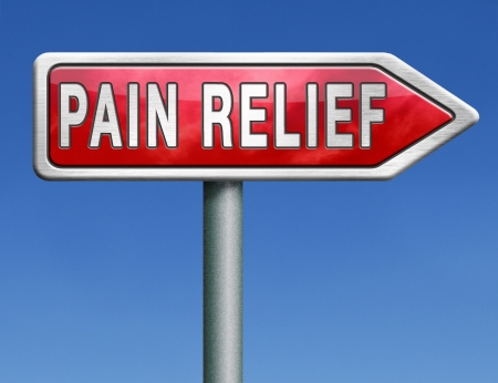 painkiller: pain relief or management by painkiller or other treatment chronic back injury road sign with text Stock Photo