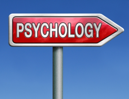 psycho social: psychology psycho therapy for mental health against depression trauma, phobia schizophrenia road sign arrow Stock Photo