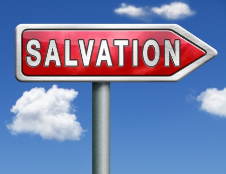 salvation follow jesus and god to be rescued save your soul icon button red road sign arrow Stock Photo - 20125493