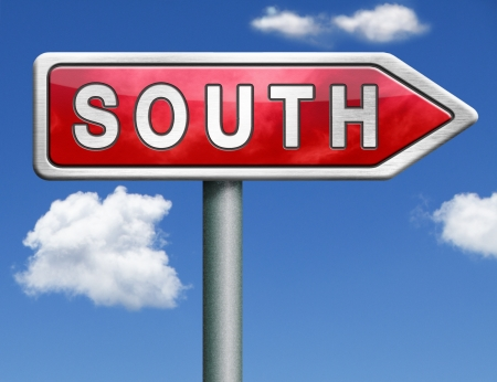 hemisphere: south geographical direction southern hemisphere red road sign arrow