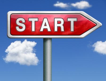 start button start icon begin new beginning origin red road sign arrow Stock Photo - 20125351