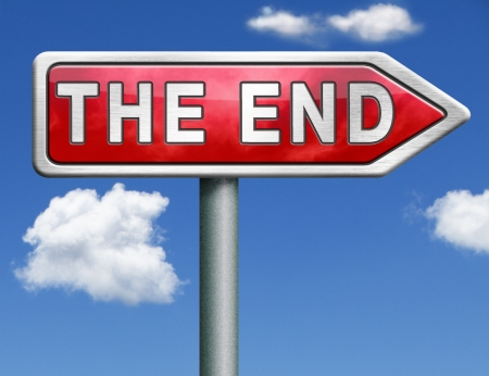 the end red road sign arrow pointing to fairy tale finish point way out  Stock Photo