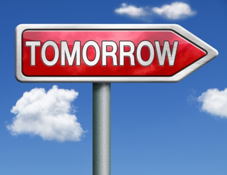 tomorrow what will the future bring a new beginning icon button next day red road sign arrow Stock Photo - 20125495