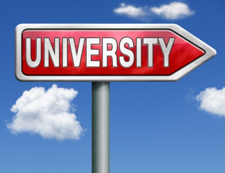 university learn get educated and gather knowledge and wisdom choose university choice university application admission entry requirements red road sign arrow Stock Photo - 20125391