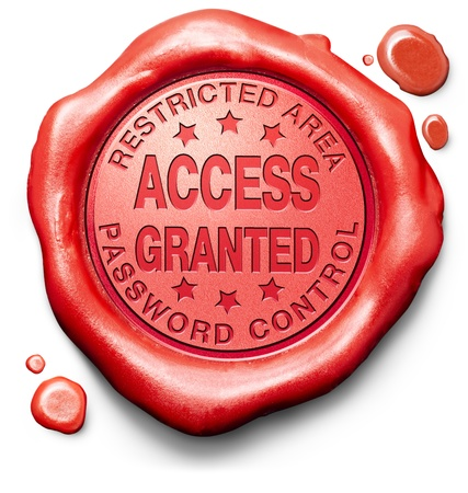 accepted label: access granted entrance password accepted control safety and security restricted area members only red label icon or stamp Stock Photo